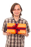 Smiling man with gift Stock Photos