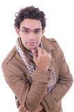 Smiling man with glasses in the coat Stock Photos