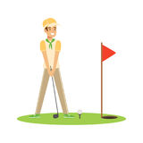 Smiling man golfer hitting the ball vector Illustration. Isolated on a white background Royalty Free Stock Image