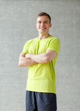 Smiling man in gym Royalty Free Stock Photography