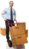 Smiling man with handtruck Stock Photos
