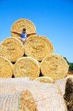 Smiling man with haystacks Royalty Free Stock Photos