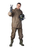 Smiling Man in Hazard Suit. A man wearing an NBC Suite (Nuclear - Biological - Chemical royalty free stock photos