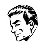 Smiling man head profile face retro line art Stock Photography
