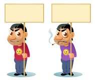 Smiling man holding blank banner. Smoking man holding blank banner vector illustration