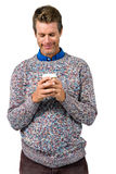 Smiling man holding disposable cup Royalty Free Stock Photos