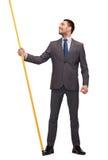 Smiling Man Holding Flagpole With Imaginary Flag Royalty Free Stock Image
