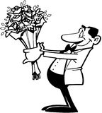 Smiling man holding flowers cartoon Vector Clipart Royalty Free Stock Images