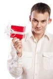Smiling man holding gift isolated on white Stock Photo