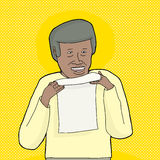 Smiling Man Holding Letter Stock Photo