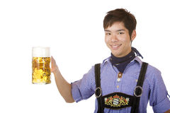Smiling man holding Oktoberfest beer stein (Mass) Stock Images