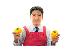 Smiling man holding vegetables Royalty Free Stock Images