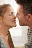 Smiling man kissing woman Stock Images