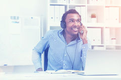 Smiling man listening to music, toned Royalty Free Stock Photography