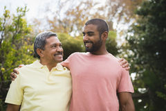 Smiling man looking at his father against trees. Smiling men looking at his father standing together against trees stock images