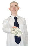 Smiling man with money in a hand Royalty Free Stock Image