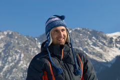 Smiling man in mountain Stock Photography