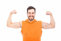 Smiling man with muscles Stock Photos