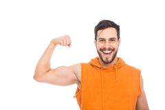 Smiling man with muscles Royalty Free Stock Photography