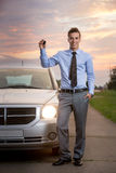 Smiling man with new car Royalty Free Stock Photography