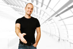 Smiling man offer hand Stock Photography