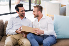 Smiling man offering gift to his boyfriend Royalty Free Stock Photos