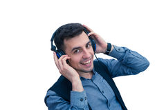 Smiling man office worker wearing a headset. Or headphones isolated on white background Stock Photography