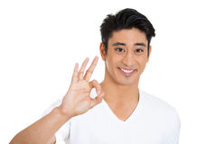 Smiling man, OK sign Royalty Free Stock Photos