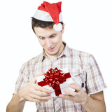 Smiling man opens gift box Royalty Free Stock Photography