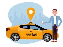 Smiling man ordering taxi on mobile phone. Rent a car using mobile app. Online taxi app concept. Yellow car on background of royalty free illustration
