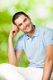 Smiling man, outdoors Royalty Free Stock Image