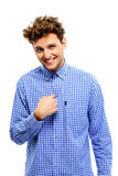Smiling man over white background. Portrait of a smiling man over white background Royalty Free Stock Photography