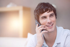 Smiling man on the phone Stock Photos