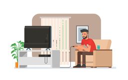 Smiling man playing video game console at home. Vector illustration with the hipster guy sits on sofa, holds game Stock Image