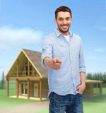 Smiling man pointing finger at you Royalty Free Stock Photography