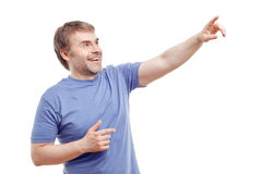 Smiling man pointing up Royalty Free Stock Photography