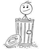 Smiling Man Poking Out of the Dustbin Garbage Can Royalty Free Stock Photography