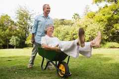 Smiling man pushing his wife in a wheelbarrow Stock Image