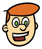 Smiling man's head. Vector illustration of a cartoon man's head and face with a big smile and wide-eyed expression Royalty Free Stock Images