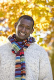 Smiling man in scarf and sweater standing outdoors in autumn royalty free stock photos