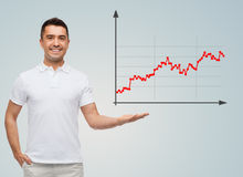 Smiling man showing something on empty palm Stock Images