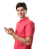 Smiling man with smart phone Stock Images