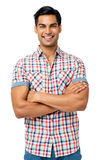 Smiling Man Standing Arms Crossed Stock Image