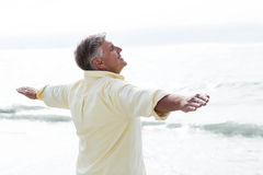 Smiling man standing by the sea arms outstretched Stock Photography