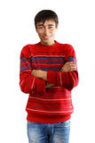 Smiling man in striped sweater Royalty Free Stock Photos