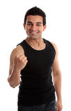 Smiling man success fist. Smiling male builder, fitness instructor or other labourer with a victory fist success.  White background Stock Photography