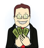 Smiling man in suit and glasses, holding  dollars. Isolated on white background. Vector illustration Royalty Free Stock Image