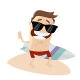 Smiling man with surfboard Royalty Free Stock Images