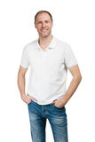 Smiling man in t-shirt isolated on white background Stock Image