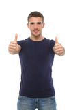 Smiling man in t-shirt showing thumbs up. Isolate Royalty Free Stock Image